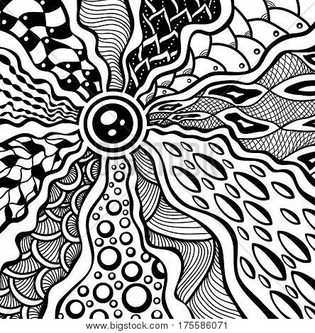 Zen-tangle or Zen-doodle abstract texture background in black on white for decoration package perfumer textile clothes or for relax adult coloring books