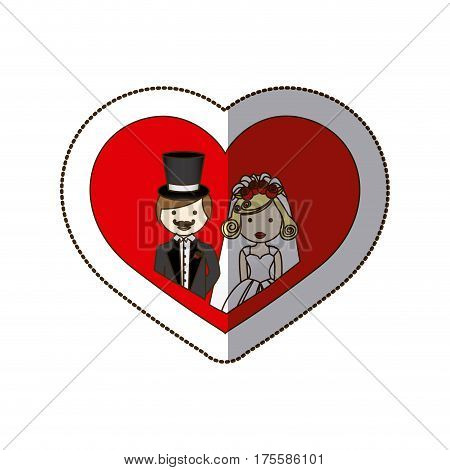 sticker colorful silhouette heart with half body cartoon married couple vector illustration