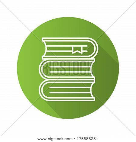 Books stack flat linear long shadow icon. Library. School textbooks with bookmarks. Vector line symbol
