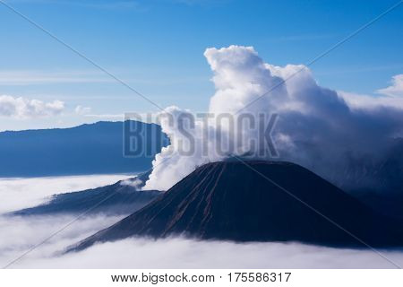 White smoke coming out of volcanoes surrounded by white clouds of mist and a clear blue sky seen at a distance in the afternoon from Mount Penanjakan at the Tengger Semeru National Park in East Java Indonesia.