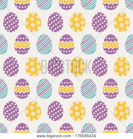 Happy Easter! Cute seamless pattern with eggs in blue purple and yellowl colors. Vector background.