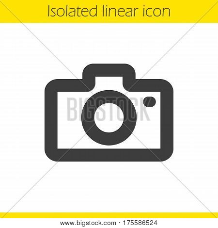 Photo camera linear icon. Thick line illustration. Digicam contour symbol. Vector isolated outline drawing