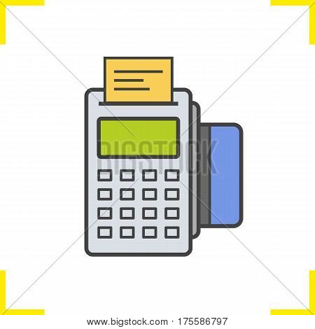 Pos terminal color icon. Store payment terminal with check and credit card. Isolated vector illustration