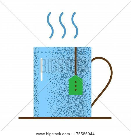 Tea icon retro texture. Cup with hot tea and teabag. Mug with herbal beverage. Vector vintage icon. Illustration isolated on white background.