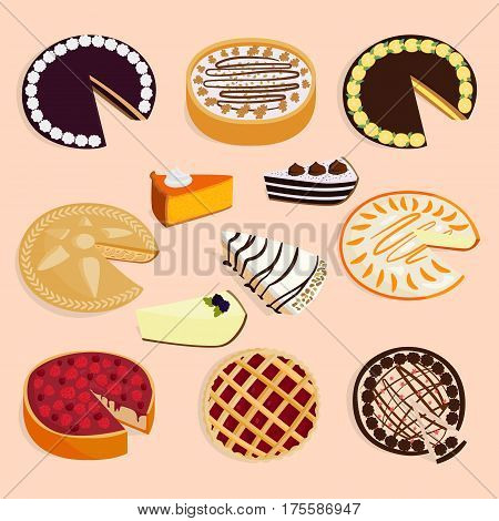 Homemade organic pie dessert vector illustration isolated on background. Fresh golden rustic gourmet bakery. Traditional slice crust delicious. Seasonal tasty warm baked