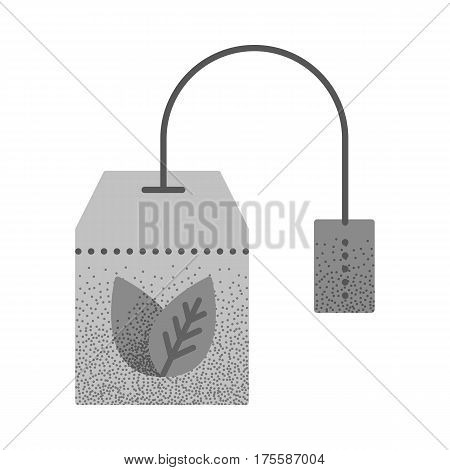 Set of black and white vintage tea icons with retro texture. Teabag with herbal tea. Hot drink contour symbol. Vector vintage icon. Color llustration isolated on white background.