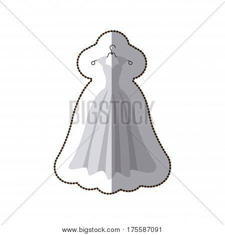 sticker colorful silhouette costume bride dress vector illustration