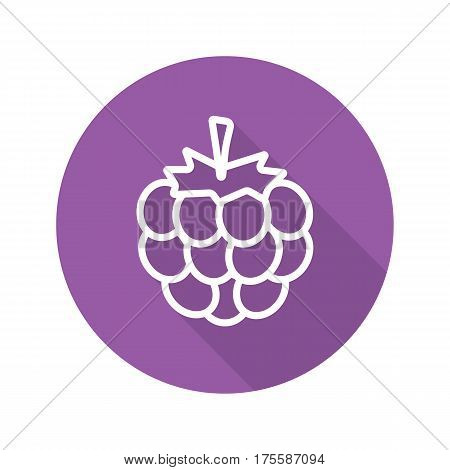 Blackberry flat linear long shadow icon. Vector line symbol