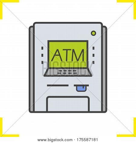 Atm machine color icon. Bank cash machine symbol. Isolated vector illustration
