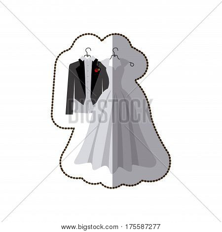 sticker colorful silhouette costume wedding desing vector illustration