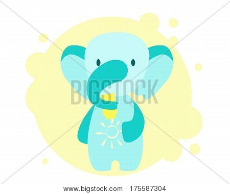 Cute little elephant uses sunscreen. Vector illustration