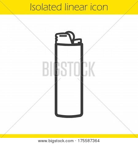 Lighter linear icon. Thin line illustration. Disposable gas lighter contour symbol. Vector isolated outline drawing