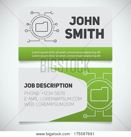 Business card print template with folder logo. Easy edit. System admin. Programmer. Stationery design concept. Vector illustration