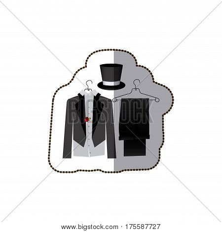 sticker colorful costume formal suit with hat groom vector illustration