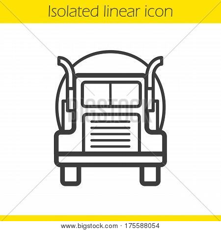 Oil tanker truck linear icon. Thin line illustration. Lorry contour symbol. Vector isolated outline drawing
