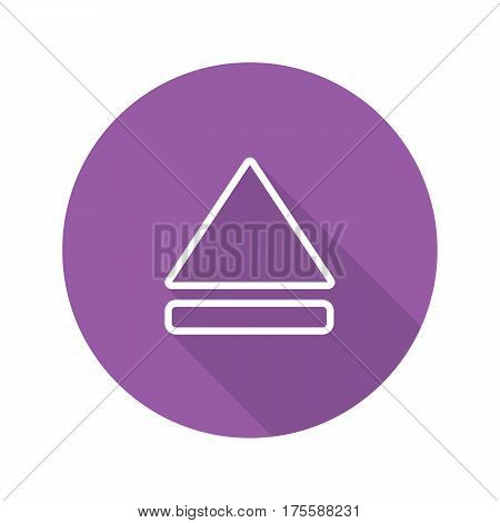 Eject button flat linear long shadow icon. Vector line symbol