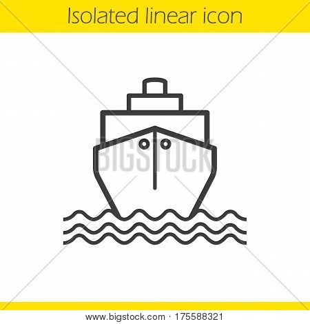 Cruise ship with waves linear icon. Shipping tanker. Thin line illustration. Contour symbol. Vector isolated outline drawing