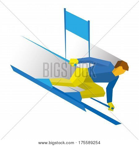 Winter Sports - Slalom Skiing. Cartoon Skier Running Downhil