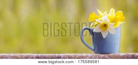 Greeting card of Easter flowers with copy space