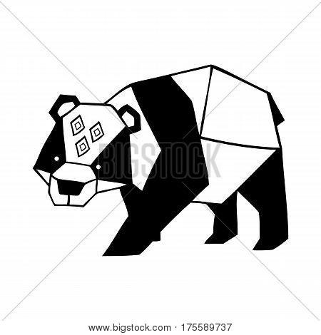 Vector hand drawn cute ornate panda bear