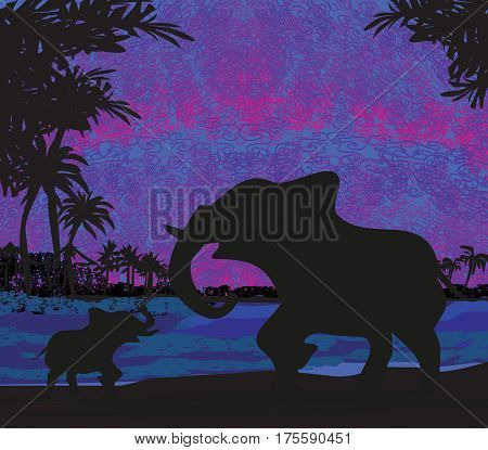 Elephants silhouette Enjoy a Sunset , vector illustration
