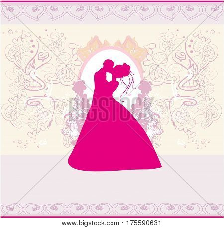 Stylish wedding invitation card with kissing couple , vector illustration