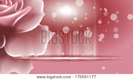 Rose flowers sparkling background. Ads template, droplet mock up isolated on dazzling roses backdrop. Place for brand text. Glamorous fragrance effects Vector illustration