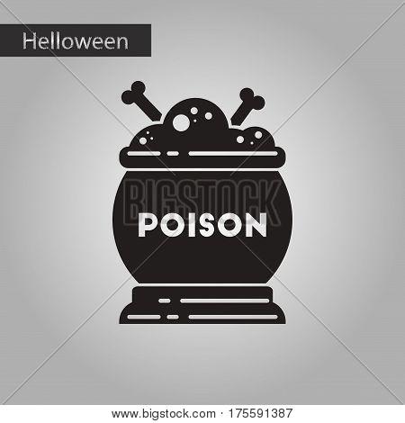 black and white style icon of halloween potion cauldron