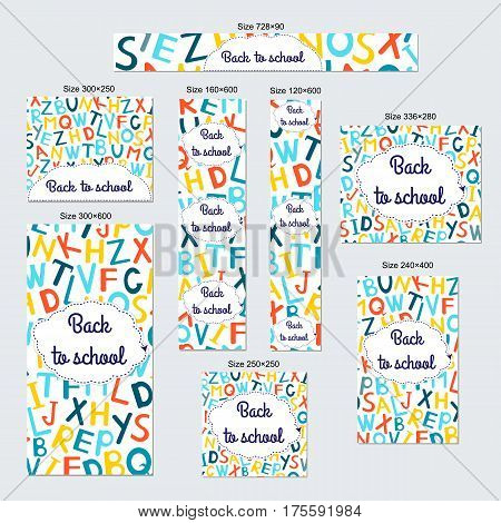 Web banners set - Back to school. Standart size