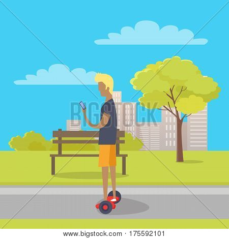 Boy riding on two wheeled mini segway in park and play with telephone. Vector illustration in flat style of modern entertainment device. Wooden bench and city architectural buildings on background.