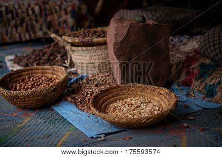 Seeds of moroccan argan tree on a market