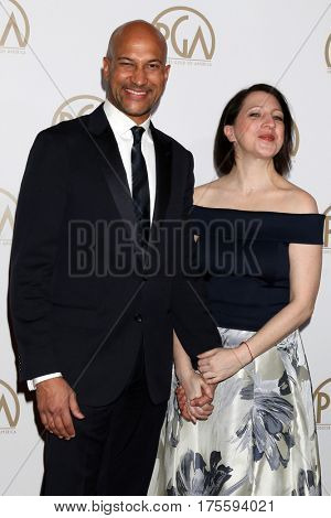 LOS ANGELES - JAN 28:  Keegan-Michael Key, Elisa Pugliese at the 2017 Producers Guild Awards  at Beverly Hilton Hotel on January 28, 2017 in Beverly Hills, CA