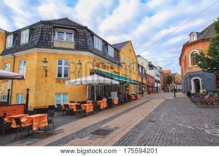 HILLEROD DENMARK 14 JUNE: Central street of smal danish town