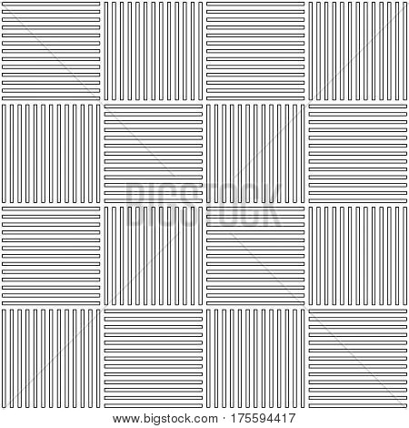 Vector abstract geometric seamless pattern. Weaving textile fabric with black and white crossed straight lines. Checked background texture in linear arrangement.