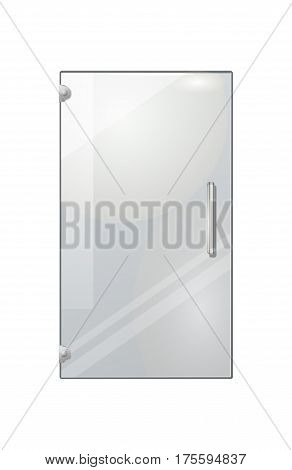 Transparent door isolated on white background. Vector illustration of isolated clear glass door with long doorhandle. Mock up decorative object of shops, boutiques for entrance and exit