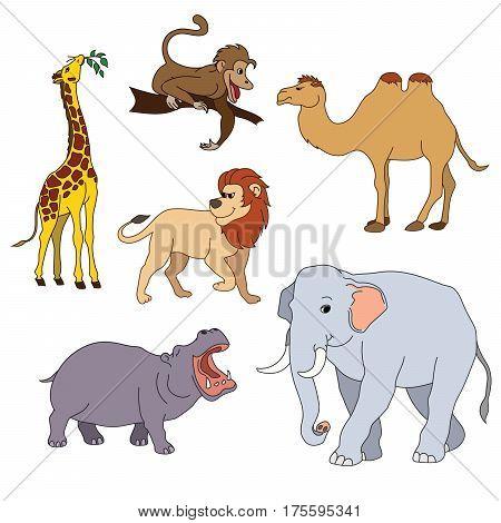 Set Of Various Cute Animals, Safari Animals. Vector Illustration Isolated On White.