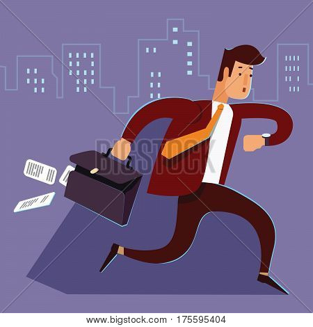 A manager or businessman is late hurry running. Man late for work runs with a suitcase falling paper. Businessman running and looking on watch. Human is late for work. Vector illustration. Cartoon character.