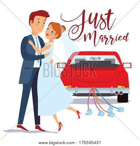 Just married happy couple bride and groom hugging each other wedding card design vector illustration. Just married car.