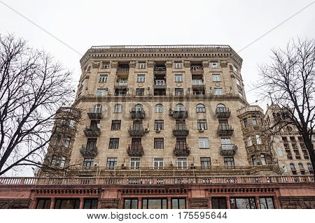 Facade of old building on Khreshchatyk street in Kiev. Stalin's empire. Winter time