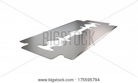 Sharp razor blade angle vew 3d render