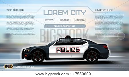 Realistic Police car Infographic. Urban city background. Online Cab Mobile App, Cab Booking, Map Navigation e-commerce business concept. Digital Vector illustration