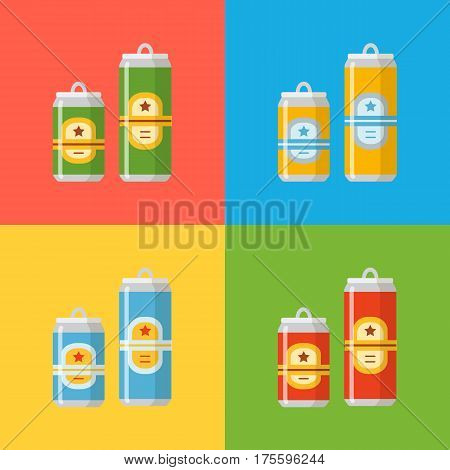 Beer set. A collection of beer cans in different colors on a colorful background. Isolated in a trendy flat style.