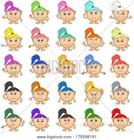 Set of Smilies, Funny Girls with Colorful Hair, Cartoon Icons Symbolising Various Human Emotions and Moods. Vector