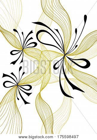 Beautiful light abstract background with lace flowers bows gold black on white for wallpaper or  decoration package perfumer textile clothes or for screen on mobile telephone tablet or for banners