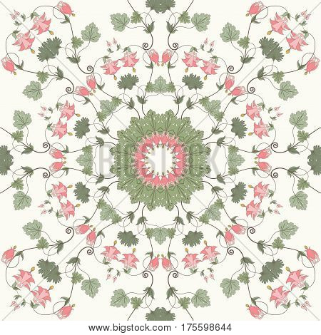 Seamless vector background. Vintage floral pattern. Aquilegia plants contain flowers buds and leaves. Pink and green.