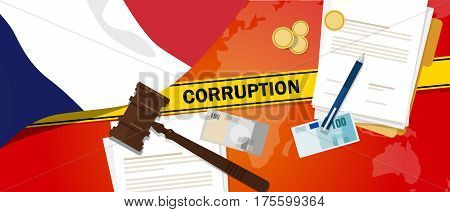 France corruption money bribery financial law contract police line for a case scandal government official vector