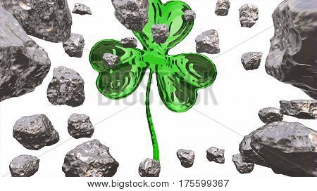 St. Patrick's Day 3D Effect Clover Over Space Background And Asteroid Field. Decorative Greeting Pos