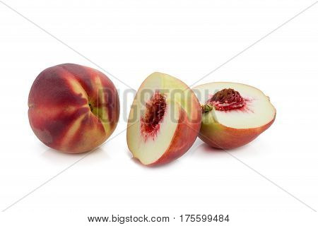 Peaches. Ripe Fresh Peaches With Half And Slice Isolated On White Background.