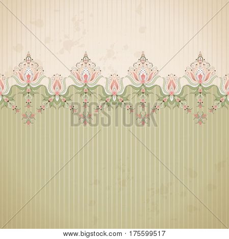 Vector background. Old paper strips and vintage damask border. Ample opportunities for use.