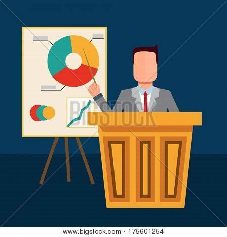 The businessman presenting his report through infographics and charts. Reporting concept. Vector flat design illustration.